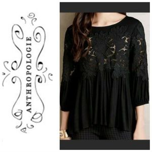 Deletta Anthropologie Desi embroidered black top